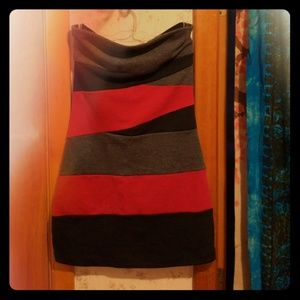 G by Guess Red Color Block Mini Tube Dress